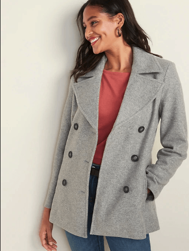 grey peacoat for travel in italy and packing for italy