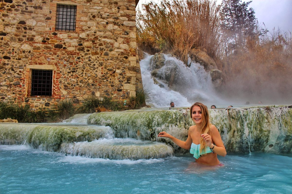 girl in the sartunia hot springs near florence