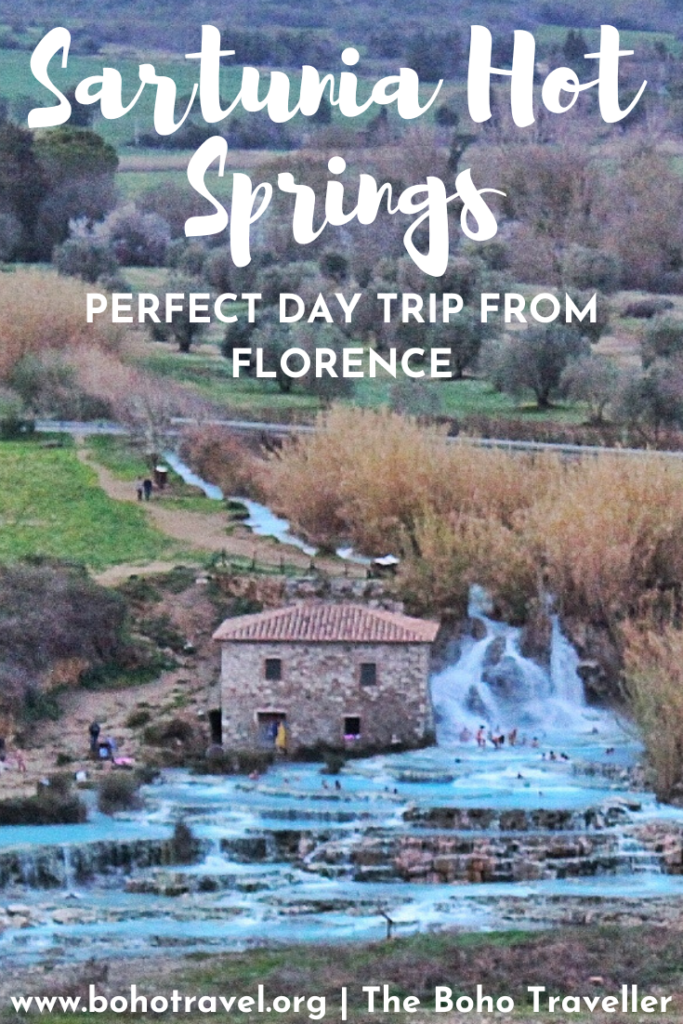 The Sartunia Hot Springs are the PERFECT Day Trip from Florence.  These hot springs in Tuscany are only a 3-hour drive from Florence.  One of the most unique things to do in Tuscany, this excursion should be on everyone's italy Itinerary.  The Sartunia hot springs are filled with mineral water naturally heated from the earth.  The Terme di Sartunia are free to access.  Read this blog post to learn more about the Sartunia Hot Springs! #sartunia #italy #beautifuldestinations #hotsprings #Italia
