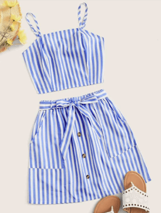 striped crop top and skirt set to pack for the florida