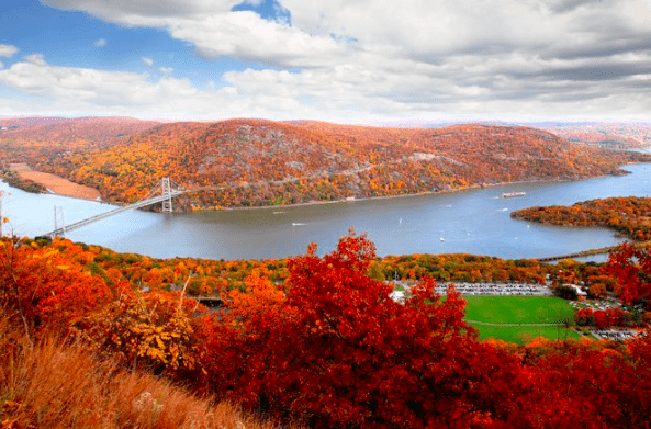 new england fall foliage with hudson river valley